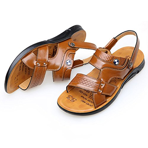 Cuero De On De para Verano De Zapatillas De Deporte HGDR Playa Sandalias Abierta Transpirables De Hombres Brown Punta Slip Sandalias Sandalias XzBZg