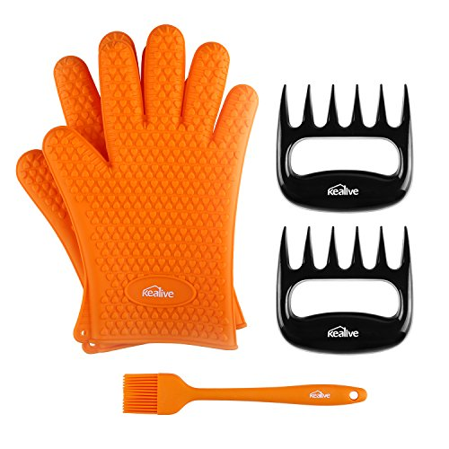 Kealive BBQ Silicone Gloves , Meat Claws , Basting Brush Gri
