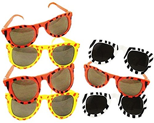Play Kreative Kid's Zoo Animal Print Sunglasses - 12 Pack - Safari Zoo Party Favors - Jungle Print Plastic Sunglasses for - Next Sunglasses Childrens