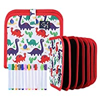 """Portable Drawing Board Book Erasable Drawing Pad for Kids Double-Sided Reuse PVC Writing Board 12 Colored Erasable Pens 8""""x8"""""""