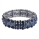 EVER FAITH Black-Tone Austrian Crystal Art Deco Three Layers Party Elastic Stretch Bracelet Navy Blue