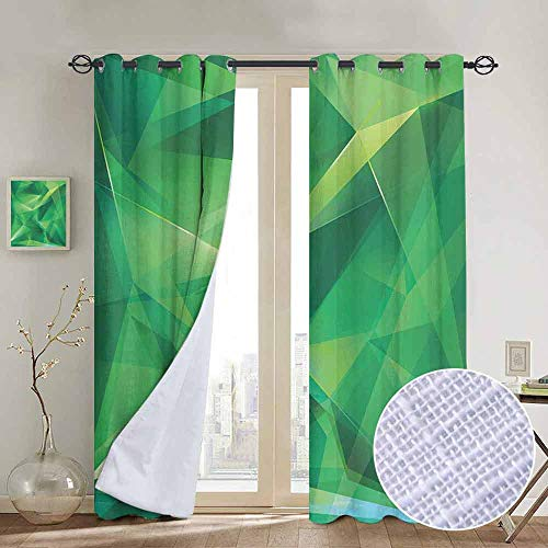 NUOMANAN Curtains for Bedroom Mint,Psychedelic Geometric Crystal Pattern with Cosmic Dynamic Digital Boho Print,Jade and Lime Green,Darkening and Thermal Insulating Draperies 54