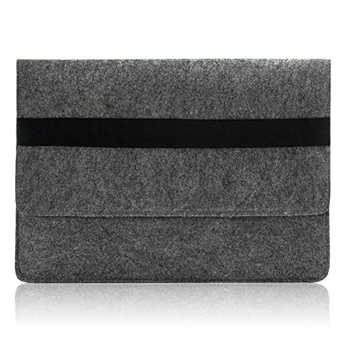 Sinoguo Gray Felt Case Sleeve Pouch with 2 Pocket Inside for Macbook Air 11 Inch, Handmade Laptop Bag Holder Pouch with Black Elastic Band for 11 Mac…