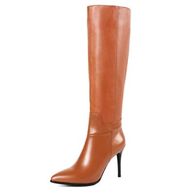 0d00607225d MERUMOTE Women s Genuine Leather Pointed Toe Zipper Stiletto Fashion Dress  Party Knee High Boots Brown 5