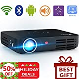 WOWOTO H8 Video Projector DLP LED 1280x800 HD 3D Support 1080P Android System WiFi&Bluetooth Home Theater Portable Mini Cinema USB AV SD HDMI Game Multi-screen Sharing Touch Control Projectors Black