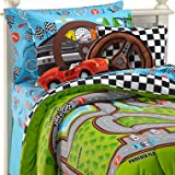 Race Cars Racetrack Boys 3pc Twin Comforter Set