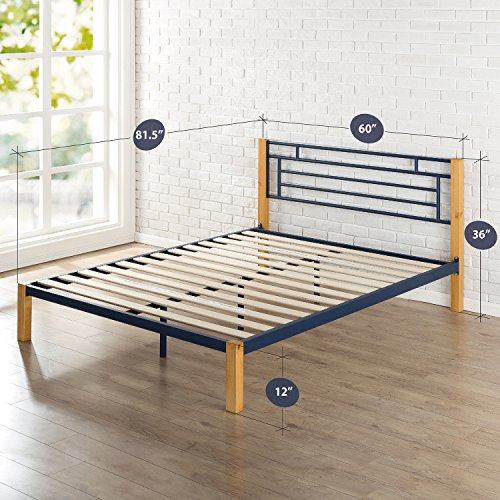 Zinus Epic Metal & Wood Platform Bed with Wood Slat Support, Queen