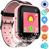 Waterproof GPS Tracker Watch for Kids - IP67 Water-resistant Smartwatches Phone with GPS/LBS Locator SOS Camera Voice Chat Games for Back to School Children Boys Girls (03 S7 Pink Standard)