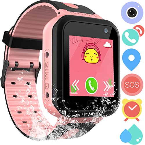Waterproof GPS Tracker Watch for Kids - IP67 Water-resistant Smartwatches Phone with GPS/LBS Locator SOS Camera Voice Chat Games for Back to School Children Boys Girls (03 S7 Pink Standard) by PalmTalkHome