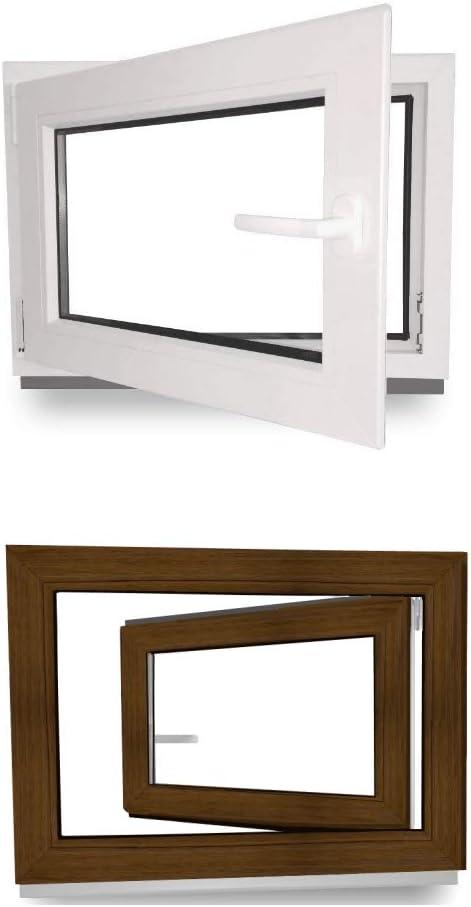 2 fach Verglasung Kunststoff BxH: 90 x 40 cm 60 mm Profil 900 x 400 mm Fenster innen wei/ß//au/ßen nussbaum Kellerfenster DIN Links