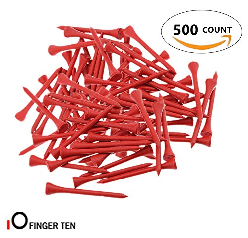 Finger Ten Golf Tees 2 3/4 inch Wood Color Bulk 250 500 1000 Count, with Free Deluxe Golf Tee Holder and Ball Marker for Men Women Kids (Red, 500 Count+ (Golf Two Wood)