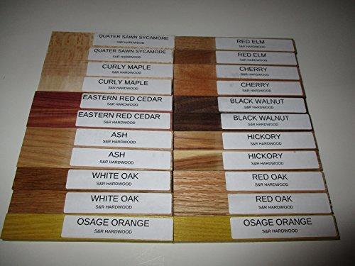 Quarter Sawn Hardwood (North American Pen Blank Pack (22) Piece Turning Set / 5.25 X .75X .75 / OSAGE ORANGE / CURLY MAPLE/ QUARTER SAWN SYCAMORE / RED & WHITE OAK / CHERRY / WALNUT/ HICKORY/ CEDAR / ASH / ELM/ 2 EACH)