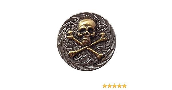 Skull and Bones Hand Rubbed Antique Finish Conchos