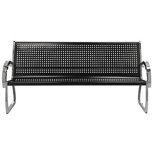 (Commercial Zone 725001 Skyline Series 4' Black and Stainless Steel Indoor / Outdoor Bench)