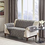 Madison Park Arctic Checkboard Long Faux Fur Loveseat Protector Grey Loveseat