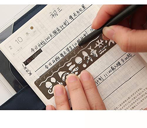 Geschenkidee f/ür Kinder//Studenten Tagebuch 4 St/ück Fotoalbum zum Basteln Lineal Ausgeh/öhltes Metall-Lesezeichen-Set geeignet als Zeichen-Vorlage Zubeh/ör B/üro Schule