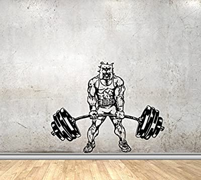 Sport Vinyl Wall Decals for Gym or Home Bodybuilder Pitbull with Barbell Powerlifting Decor Stickers Vinyl MK5646