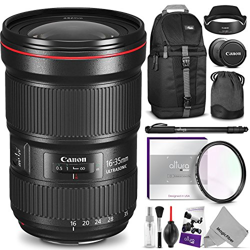 Canon EF 16-35mm f/2.8L III USM Lens w/ Advanced Photo and Travel Bundle - Includes: Altura Photo Sling Backpack, Monopod, UV Protector, Camera Cleaning Set by Canon