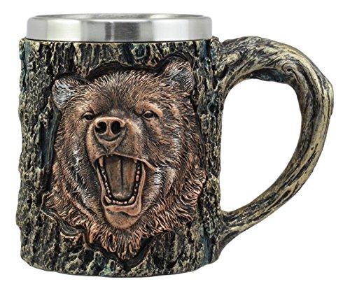 (Ebros Nature Wildlife Roaring Black Bear Mug With Rustic Tree Bark Texture Design In Painted Bronze Finish 12oz Drink Beer Stein Tankard Coffee Cup)