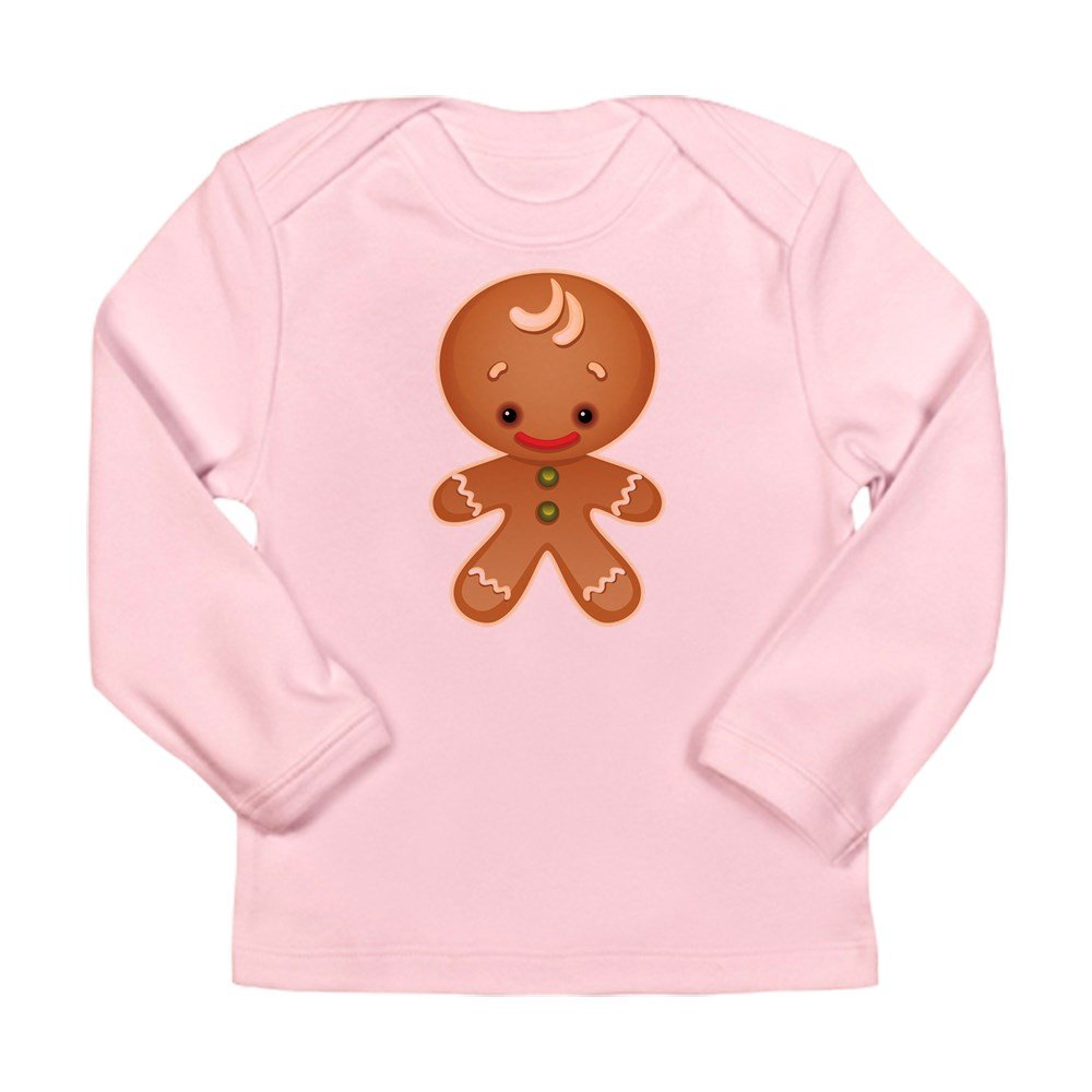 6 To 12 Months Truly Teague Long Sleeve Infant T-Shirt Chistmas Cuties Gingerbread Man Petal Pink