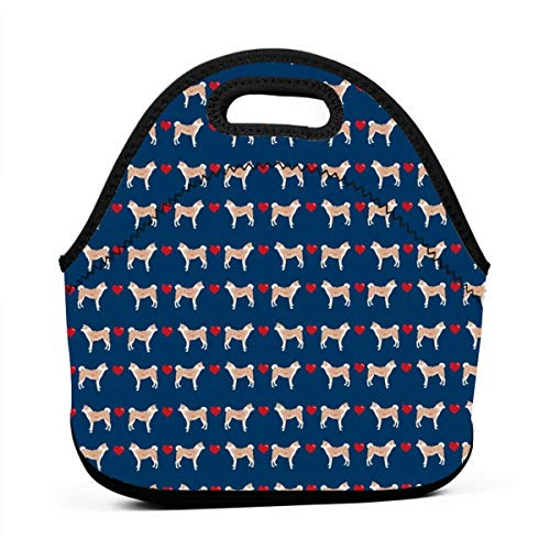 g Pet Portrait Dog Breeds Navy Lunch Bag Insulated Thermal Lunch Tote Outdoor Travel Picnic Carry Case Lunchbox Handbags with Zipper ()