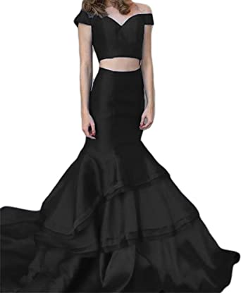Dreagel Mermaid Long Prom Evening Dresses Two Piece Formal Wedding Dress for Women Black US 2