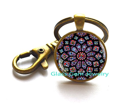 Stained glass Rose Window Key Ring, stained glass image, Cathedral Keychain, Rose Window Keychain, Gothic style, Catholic Christian (Antiqued Mens Wedding Ring)