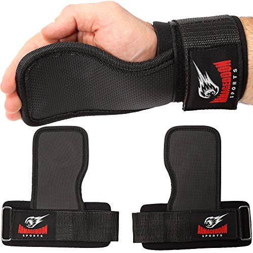 Weight Lifting Hand Grips Workout Pads with With Built in Adjustable Wrist Support Wraps for Power Lifting Pull Up Fitness Gym - Fitness Gloves Alternative by Armageddon Sports (Grip Strap Pad)