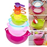 BYCE Food-grade PP Rainbow Mixing Bowls Set,Measuring Cup Salad Bowls Nest Food Preparation Set