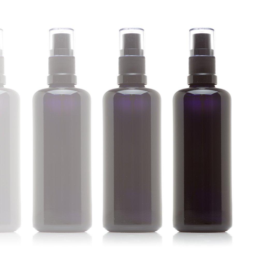 Infinity Jars 100 Ml (3.4 fl oz) Black Ultraviolet Glass Fine Mist Spray Bottle 10-Pack