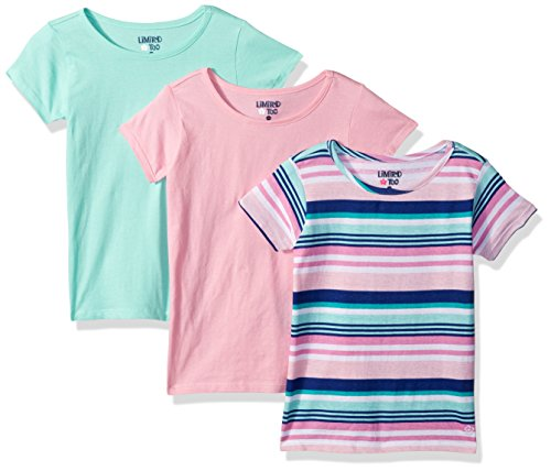 Limited Too Toddler Girls' 3 Pack T-Shirt, Pack Stripes Light Pink with Solid Mint Multi Print, ()