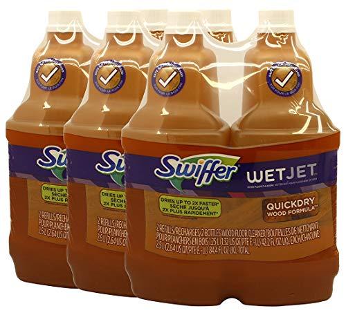 Swiffer Wet Wood Floors - Swiffer WetJet Wood Floor Cleaner Solution Refill, Multi-purpose Blossom Breeze Scent Wet Jet Refills, 1.25 Liter (Pack of 6)