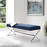Aurora Blue Velvet Upholstered Bench - Stainless Steel Legs | Chrome Tone | Living-room, Entryway, Bedroom | Inspired Home