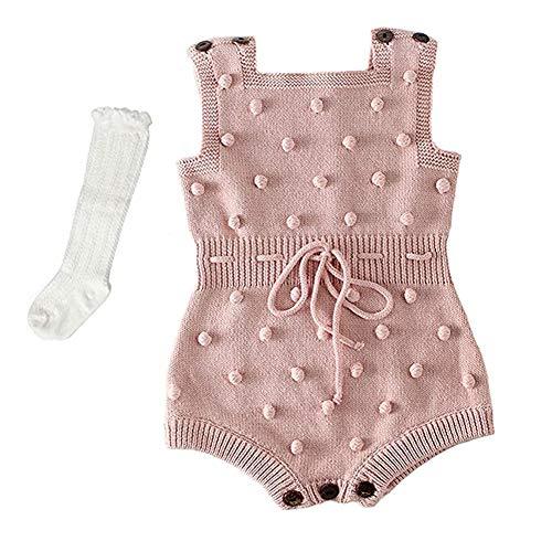 Askwind Baby Girls Knit Striped Polka Dot Romper Cute Strap Sleeveless Jumpsuit Bodysuit (Pink1, 0-6 Months) -