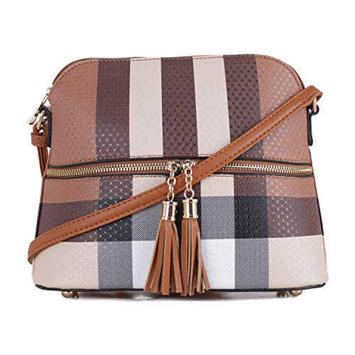 Dome Inspired (SG SUGU Lightweight Medium Dome Crossbody Bag with Tassel | Plaid Pattern | Brown)