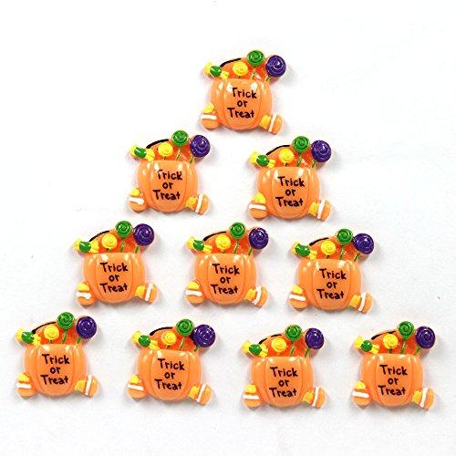 Bulk 10pcs Halloween Trick & Treat Candy Pumpkin Flatback Resin Scrapbooking Cabochons DIY Hair Bow Center Decoration Embellishments (Diy Halloween Decorations Crafts)