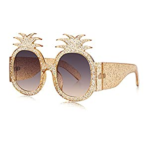 WOWSUN Fashion Pineapple Women Sunglasses Glittered Oversized Round Crystal Frame Yellow