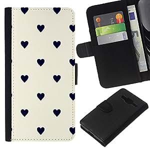 A-type (Dot Heart Pattern Black Beige) Colorida Impresión Funda Cuero Monedero Caja Bolsa Cubierta Caja Piel Card Slots Para Samsung Galaxy Core Prime