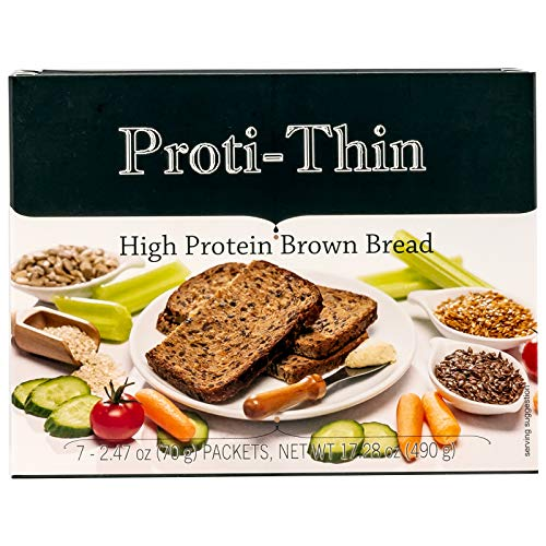 Proti-Thin High Protein Brown Bread - 3 Slices according to Serving - 7 Servings - 15g Protein - High Fiber - Low Net Carb Diet Bread