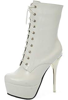 YE Chaussure Botte Ankle Boots Femme Courte Bottine Vernis Plateforme Talon  Haut Aiguille Lacet Hiver 580d89a11e98