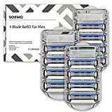 Solimo 3-Blade Razor Refills for Men, 12 Refills (Fits Solimo Razor Handles only)