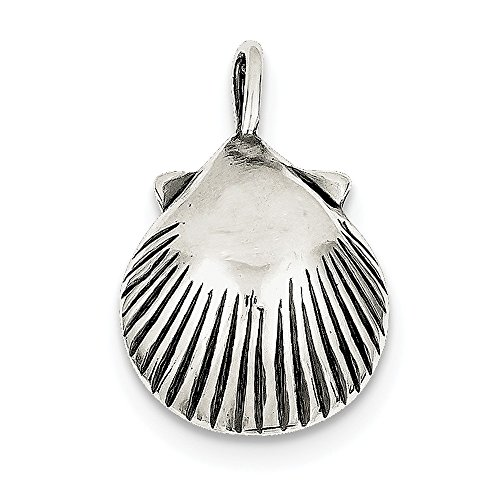 Sterling Silver Antiqued Seashell - Sterling Silver Antiqued Sea Shell Pendant (26 mm x 18 mm)