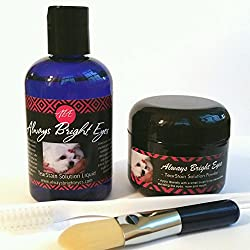 Always Bright Eyes -Tear Stain Remover For Dogs & Cats- Complete Set Includes 2 Oz. Powder, 4 Oz.liquid & Application Brushes -All Natural- For Maltese, Shitzu, Yorkies, & Light Coated Breeds.