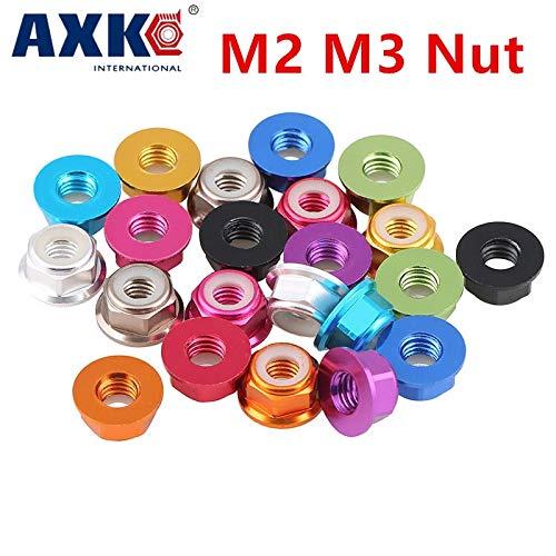 Nuts Huscus 10pcs M2 M3 M4 Red/Black/Blue/Light Blue/Orange/Golden/Purple/Pink/Sliver/Grey Anodized Aluminum Flange Nylon Lock Nut - (Size: M2, Color: Light Blue)