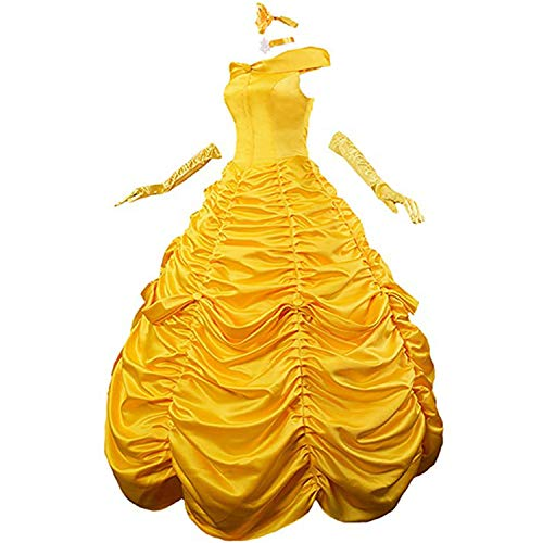 Womens Princess Dress Long Party Costume Lace up Ball Gown Prom Dresses Gloves (M)]()
