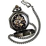 ShoppeWatch Skeleton Pocket Watch with Chain Bronze Octagon Case Steampunk Costume Railroad Style Mechanical Movement… 7