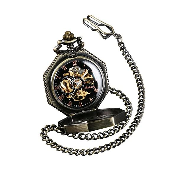 ShoppeWatch Skeleton Pocket Watch with Chain Bronze Octagon Case Steampunk Costume Railroad Style Mechanical Movement Hand Wind Up Reloj PW-221 4