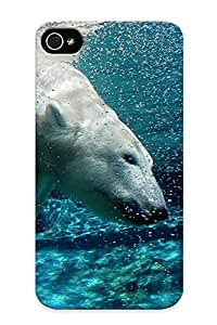 Design For Iphone 4/4s Premium Tpu Case Cover Water Animals Swimming Polar Bears Protective Case