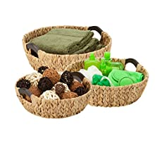 """Honey-Can-Do STO-04469 3pc Round Natural Baskets, 15.75"""" x 14.75"""" x 5.3"""""""