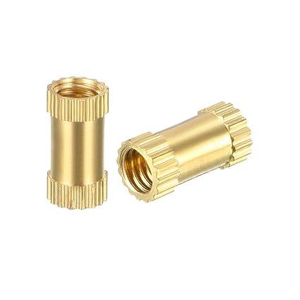 LUOQIUFA Knurled Threaded Insert M3 x 6mm L x 5mm OD Female Thread Brass Embedment Nuts Pack of 50
